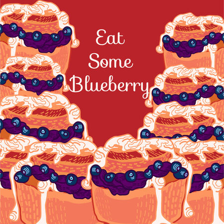 blueberry muffin:  blueberry muffin with jam and cream Illustration