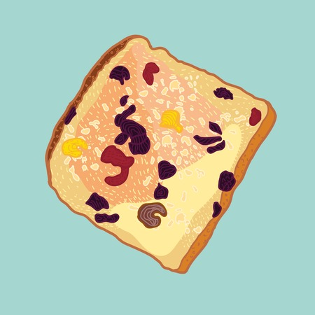 vector slice of bread with raisins and nuts Vector