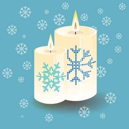 Illustration lighting round thick candle with snowflake pattern Vector