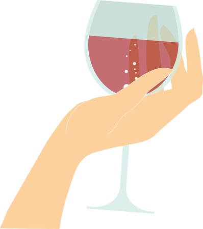toasting wine: vector female hand holding glass with red wine drink in fingers