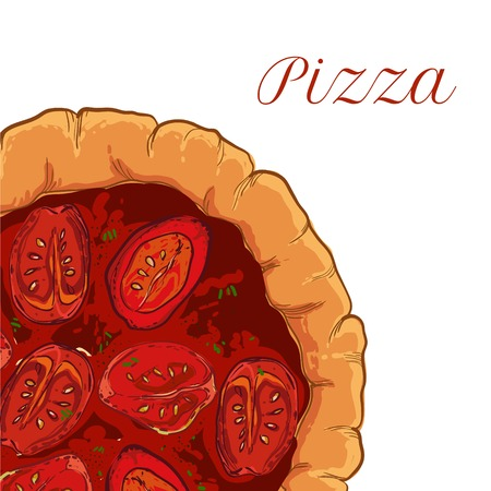 margherita: vector neapolitan pizza with mozzarella, tomato and basil