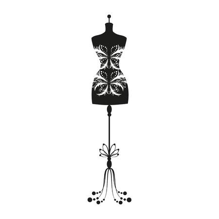 tailor measure: mannequin dell'annata del sarto per il corpo femminile Vettoriali