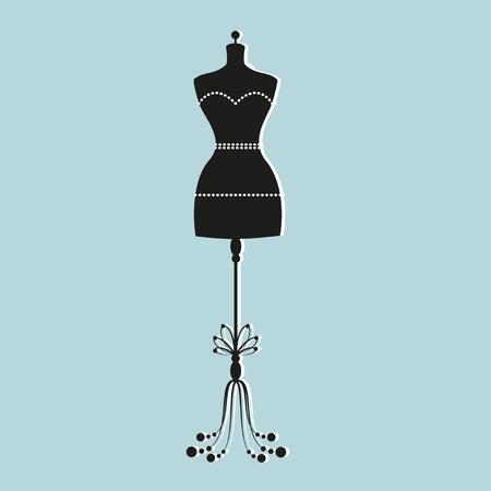 mode retro: mannequin vector vintage kleermaker voor vrouwelijk lichaam