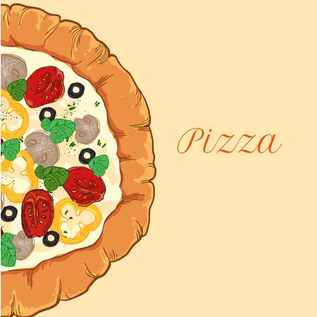 vector neapolitan pizza with mozzarella, tomato and basil