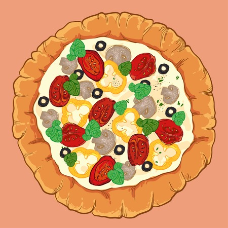 neapolitan: vector neapolitan pizza with mozzarella, tomato and basil