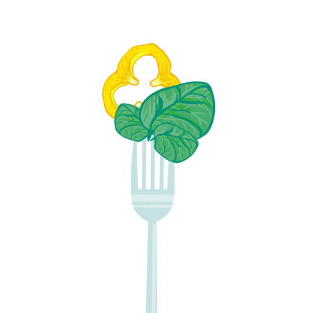 spinach salad: vegetarian illustration with forks and fresh spinach