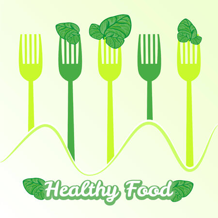 spinach: vegetarian illustration with forks and fresh spinach