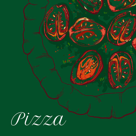 margherita: vector neapolitan pizza with sauce, tomato and basil Illustration