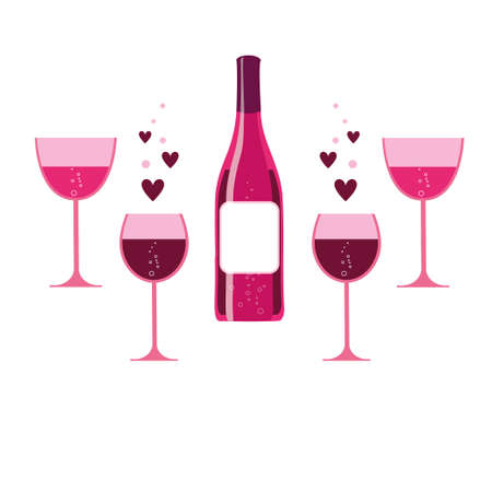 pink wine: pink wine glasses with sparkles and wine bottle