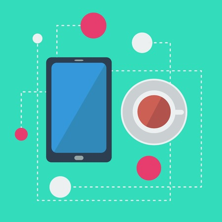 infographics with smartphone and coffee Vector