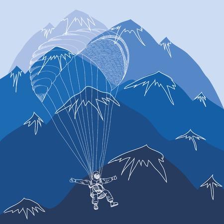 flying sportsmen paragliding in blue mountains