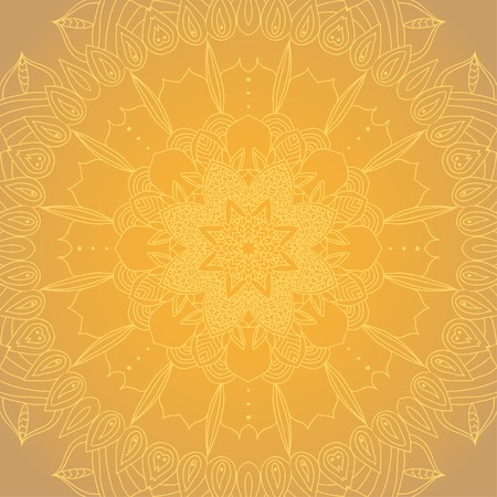 delicate golden lace round mandala pattern Vector