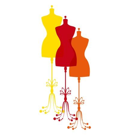vintage tailors mannequin for female body Vector