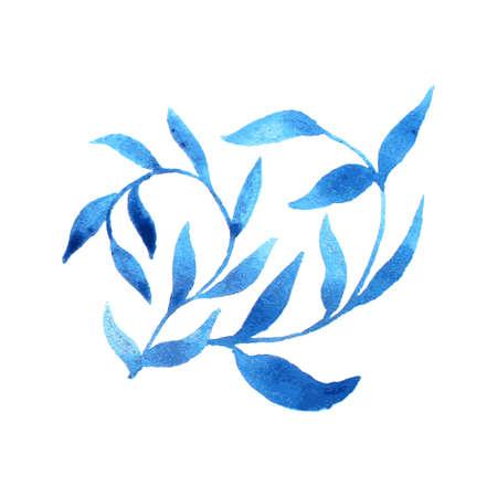 gzhel: vector gzhel watercolor leaf pattern