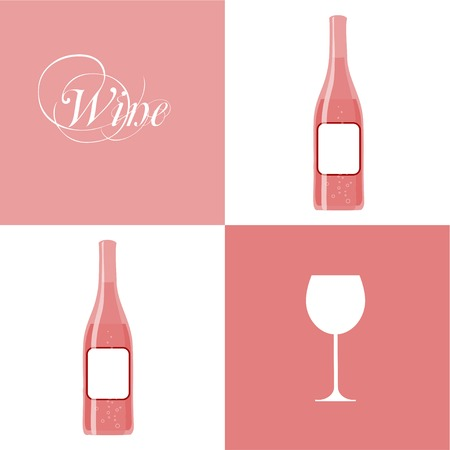 vector wine bottle with wine glass Vector