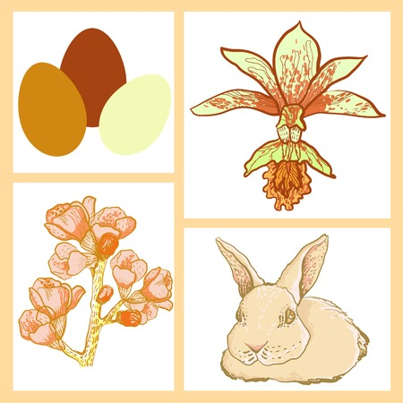 cherry branch: vector Easter rabbit with spring cherry branch and pearl beads Illustration
