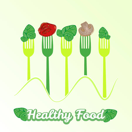 spinach salad: vector concept vegetarian illustration with forks and fresh spinach