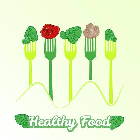 spinat: Vektor-Konzept vegetarische Abbildung mit Gabel und frischer Spinat Illustration