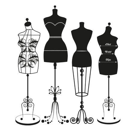 moda ropa: maniqu� de sastre vector vendimia para el cuerpo femenino