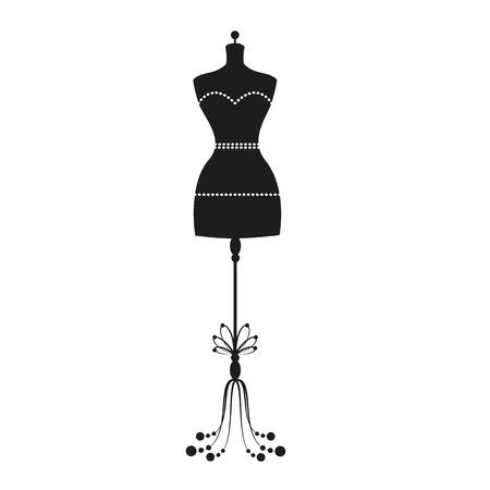 女性の身体のビンテージ仕立て屋のマネキンをベクトルします。  イラスト・ベクター素材