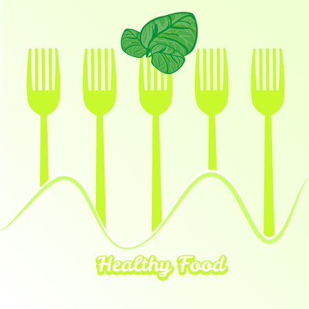 spinach: vector tableware set of fork with spinach
