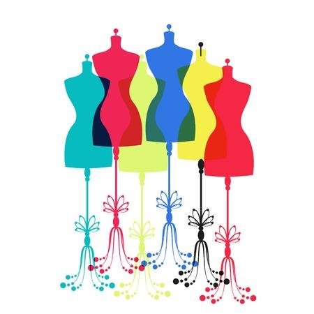 vector vintage tailors mannequin for female body
