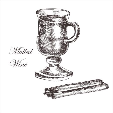 vector hand drawn ink sketch of mulled wine, cinnamon, anise. detailed food drawing for autumn illustrations