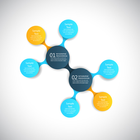 flow diagram: vector infographics metaball round diagram templates for business presentations
