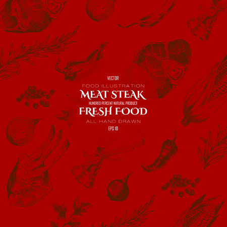 meat steak: vector meat steak sketch drawing designer templates. food hand-drawn backdrop for corporate identity