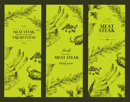 fillet steak: vector meat steak sketch drawing designer templates. food hand-drawn backdrop for corporate identity