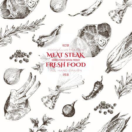 bosquejo filete de plantillas de diseño de dibujo vectorial de carne. telón de fondo dibujado a mano alimentos para la identidad corporativa Ilustración de vector