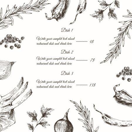 fillet steak: vector meat steak sketch drawing designer templates. food hand-drawn backdrop for corporate identity