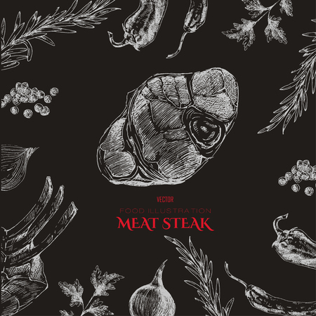 vector meat steak sketch drawing designer templates. food hand-drawn backdrop for corporate identity Ilustração Vetorial