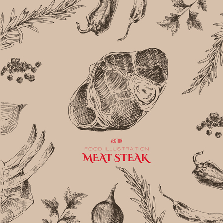 steak beef: vector meat steak sketch drawing designer templates. food hand-drawn backdrop for corporate identity