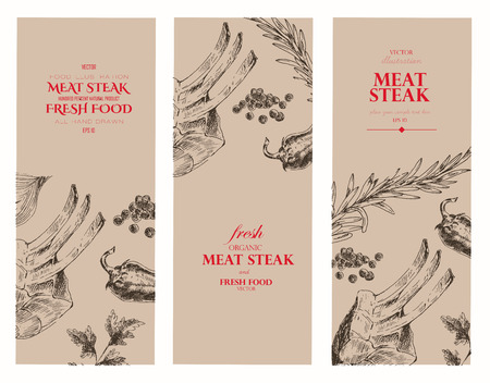 vector meat steak sketch drawing designer templates. food hand-drawn backdrop for corporate identity