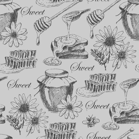 vector honey seamless pattern. hand drawn honey jar, spoon, stick, cells, camomile. ink sketch of organic nature product