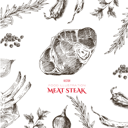 fillet: vector meat steak sketch drawing designer templates. food hand-drawn backdrop for corporate identity