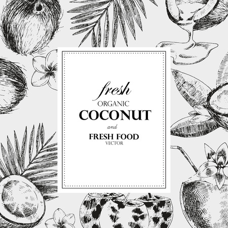 Main noix de coco tirées modèle de conception. Retro style vecteur croquis nourriture tropical illustration.