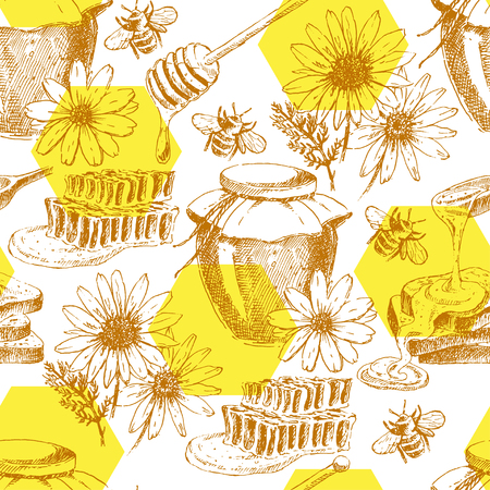 vector honey seamless background. hand drawn honey jar, spoon, stick, cells, camomile. ink sketch of organic nature product
