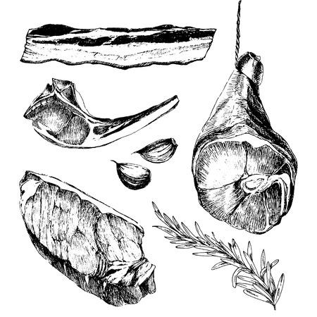 vector vlees steak schetstekening designer templates. lam rib, parma ham, entrecote