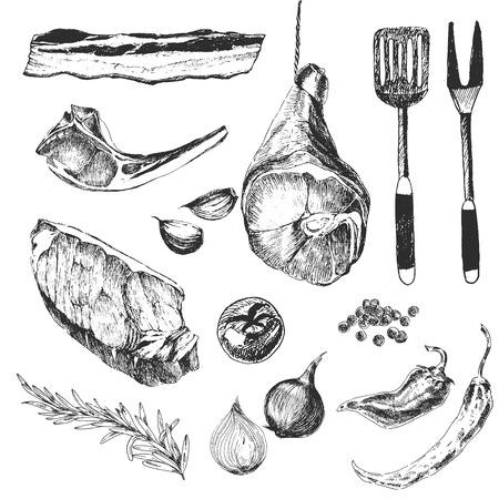 Stek z mięsa wektor szkic projektant szablonów rysunku. jagnięcina żeberka, szynka parmeńska, polędwicy