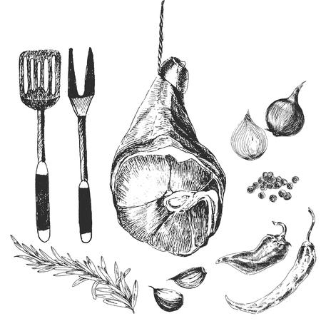 ベクトルの肉のステーキは、図面デザイナー テンプレートをスケッチします。手の描かれたパルマ ハムのグリル、バーベキュー