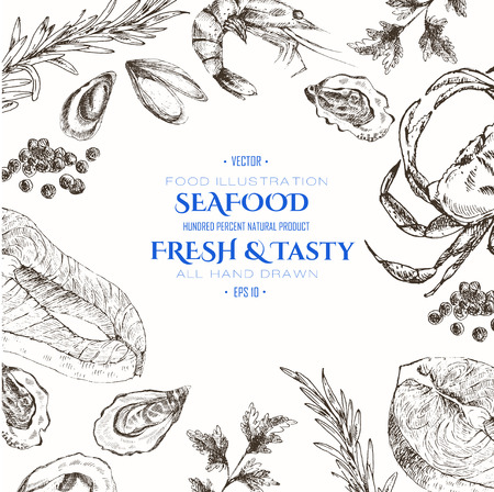 vector seafood designer template set - shrimp, crab, lobster, salmon, oyster, mussel. mediterranean cuisine seafood sketch