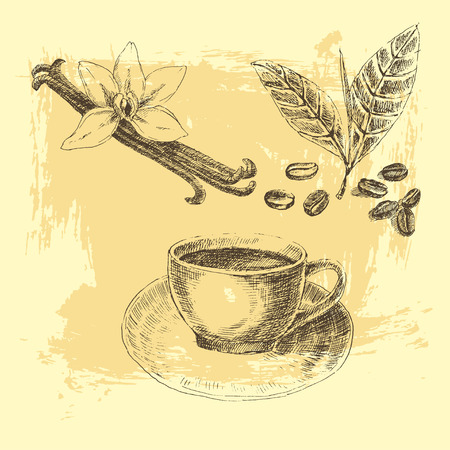 set with dessert spices. Vintage illustration. Retro collection of vanilla, coffee leaves, hot drinks