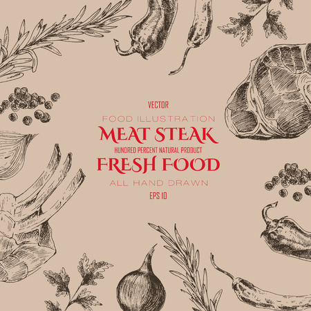 meat steak sketch drawing designer templates. food backdrop for corporate identity
