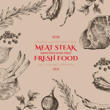 plantillas de diseño gráfico de bosquejo del filete de carne. telón de fondo de alimentos para la identidad corporativa
