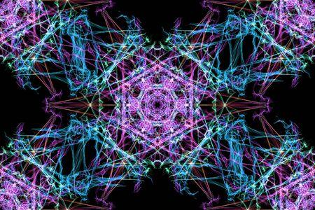 kaleidoscopic: Abstract kaleidoscope background. Seamless texture. Unique design. Silk symmetry seamless pattern series. Stock Photo