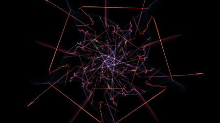 Abstract wavy design element on black background. Silk symmetry series. Stock Photo