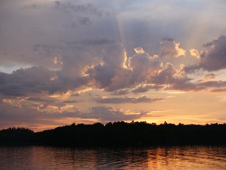 a beautiful sunset over a lake