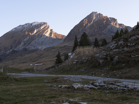 a beautiful landscape with swiss mountains